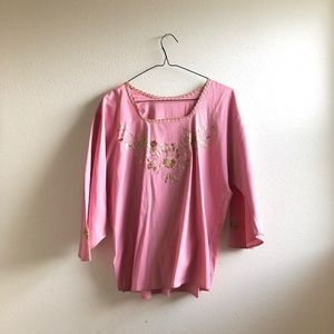 Vintage mexican blush blouse floral embroidered-L